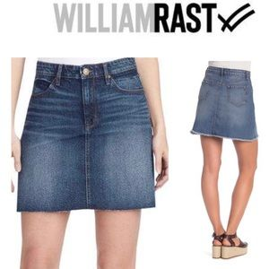 Denim Blue Skirt WILLIAM RAST A-Line Raw Edge NWT